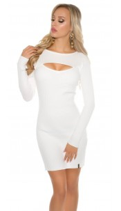 Sexy KouCla mini knit dress with Sexy Dekolleté White