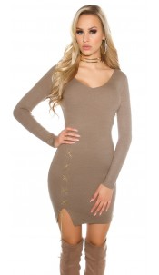 Sexy KouCla V-Cut knitted dress with deco chain Cappuccino
