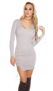Sexy KouCla V-Cut knitted dress with deco chain Grey