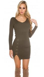 Sexy KouCla V-Cut knitted dress with deco chain Khaki