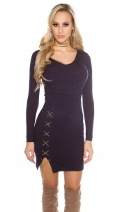 Sexy KouCla V-Cut knitted dress with deco chain Navy