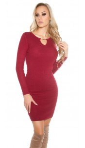 Sexy knit dress with V-cut and lacing Bordeaux