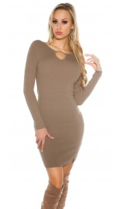 Sexy knit dress with V-cut and lacing Cappuccino
