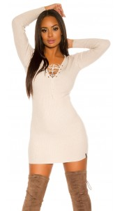 ribed knit Mini dress with lacing Beige