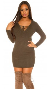 ribed knit Mini dress with lacing Khaki