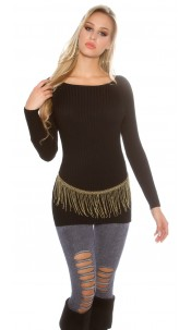 Trendy KouCla High Low ribbed jumper Black