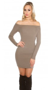 knit dress with Carmen cutout Cappuccino