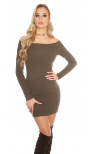 knit dress with Carmen cutout Khaki