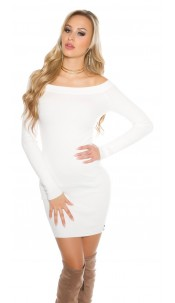 knit dress with Carmen cutout White