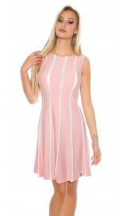 Sexy KouCla fine knit dress striped Antiquepink