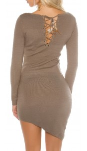 Sexy KouCla knit mini dress asymmetr. With feather Cappuccino