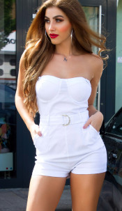 Sexy jumsuit with straps and belt White