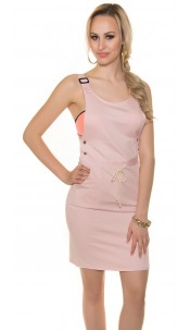 Trendy basic dress with lacing Pink