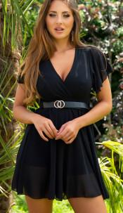 Sexy v-halter jumpsuit met riem zwart