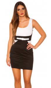 Sexy Minidress in businesslook with bow White