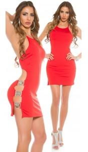 Sexy KouCla Neck Mini Dress with Buckles Red