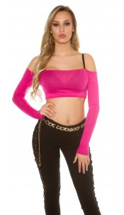 Sexy crop long-sleeved shirt Fuchsia