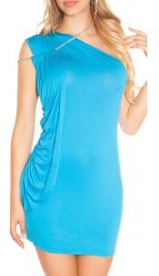 Sexy Minikleid asymmetrical with chain straps Turquoise