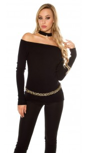 Sexy Carmen sweater with decoration pearl Black