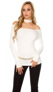 Sexy Carmen sweater with decoration pearl Cream