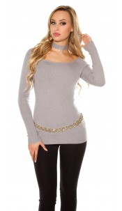 Sexy Carmen sweater with decoration pearl Lightgrey