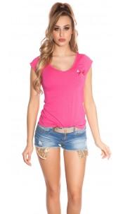 Trendy KouCla Shirt with Pocket and Studs Fuchsia