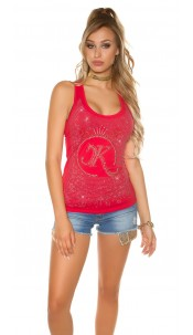 Sexy KouCla tank top with glitter stone and rivets Red
