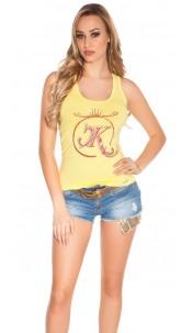 Sexy KouCla tanktop with print and cutouts Yellow
