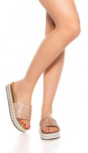 Trendy Glitter Sandals Beige