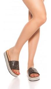 Trendy Glitter Sandals Black
