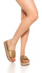 Trendy Glitter Sandals Gold