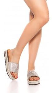 Trendy Glitter Sandals Silver