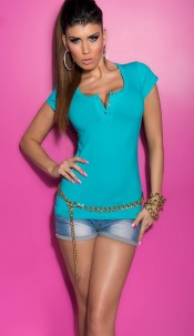 Trendy KouCla Shirt with Lace and Buttons Turquoise