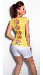Sexy backfree KouCla Shirt with Loops Yellow