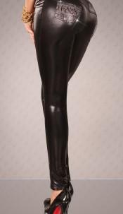 Sexy Leggins in leatherlook w. rhinestoneprint Black