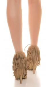 Sexy high heel open suede look with fringes Beige
