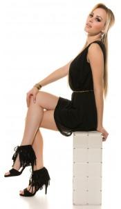 Sexy high heel open suede look with fringes Black