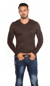 Trendy Men s Slim Fit Sweater Brown