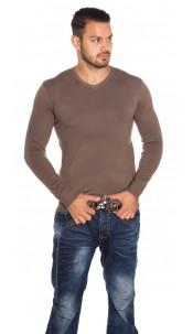 Trendy Men s Slim Fit Sweater Cappuccino