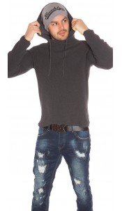 Trendy Mens Knit Hoodie Anthracite
