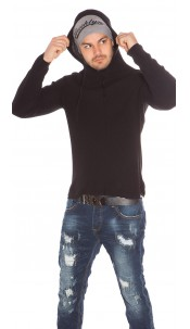 Trendy Mens Knit Hoodie Black