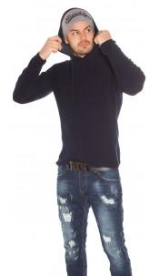 Trendy Mens Knit Hoodie Navy