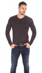 Trendy Mens V Cut Basic Knit Jumper Anthracite
