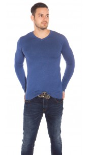 Trendy Mens V Cut Basic Knit Jumper Blue