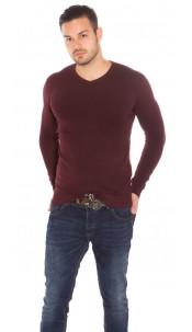 Trendy Mens V Cut Basic Knit Jumper Bordeaux