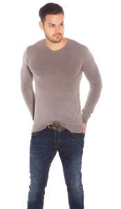 Trendy Mens V Cut Basic Knit Jumper Cappuccino