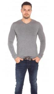 Trendy Mens V Cut Basic Knit Jumper Grey