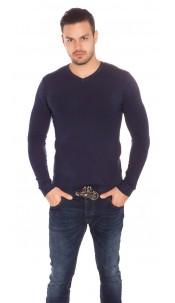 Trendy Mens V Cut Basic Knit Jumper Navy