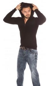 Trendy Men Basic Hoodie with Zip Black