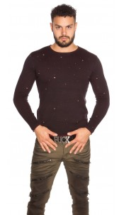 Trendy Men s Sweater in Used Look Bordeaux